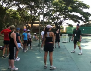 Joel takes the tennis at the Bootcamp Thailand