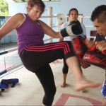 Lynne at KC Muay Thai fitness gym Thailand