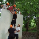 climbing over the fitness holiday bootcamps wall
