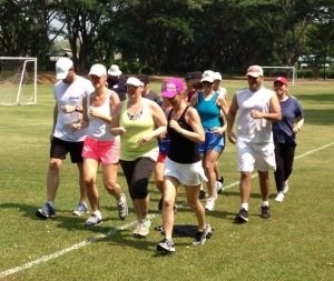 Fresh Start fitness camps in Thailand running boot camp participants