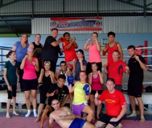 Here are our April 2013 fresh start bootcampers at Kc's Muay Thai gym in Chiang Mai a great bootcamp holiday in Thailand