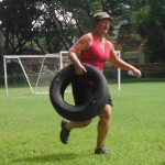 running with a tyre at the Fitness holiday Thailand